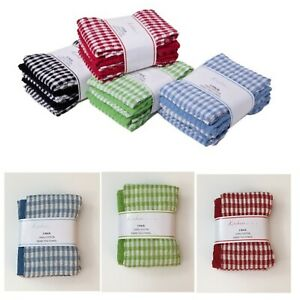 Mono Check Terry Tea Towels 100% Cotton { Pack of 3 }