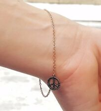 Meira T Rose Gold Diamond Peace Bracelet