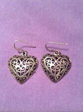 Ladies Sterling silver Heart Dangle Earrings used