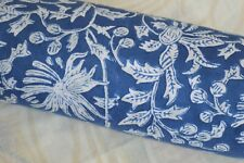 3 Yard Indian Blue Hand Block Print Cotton Fabric Dressmaking Sewing Craft (q)