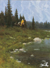 Between Mountain Showers by Jim Rey Cowboy Horseback Western Artist Proof 17x24