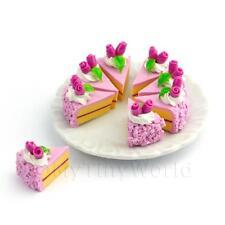 Casa De Muñecas Miniatura Completo En Rodajas Fucsia Tarta Helada Rosa