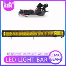 28 Inch 396W Triple Row LED Pods Light Bar Spot Flood Amber Driving Fog Lamp 4WD