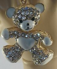 *UK* Crystal Diamante teddy bear Bag Purse Keyring Charm gift rhinestone bling