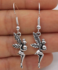 925 Silver Plated Hook -A Pair 1.7'' Angel Ball Fairy Women Party Earrings #61