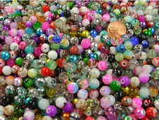 1/2 LB LOT ASSORTED 8MM CZECH LAMPWORK GLASS BEADS!!