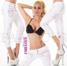 Sexy Women's European Printed Summer Jeans 3/4 Pants Size 8 10 12 14 S M L XL