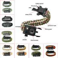 10IN1 Outdoor Emergency Survival Paracord Bracelet Saw Gear Compass Thermometer