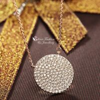 18K Rose Gold Plated Simulated Full Diamond Studded Exquisite Round Necklace