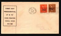 Canal Zone SC# 118 & 119 FDC / Cacheted / Light Corner Crease - L1576