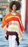 Ashro Orange Multi White Cold Shoulder Fhallen Top Blouse Size XL