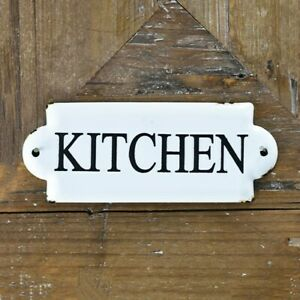 """Kitchen White and Black 7"""" Metal Sign"""
