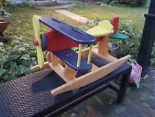 P J Toys Vintage Used Toddlers Rocking Airplane Wood Chair With Airplane Sounds