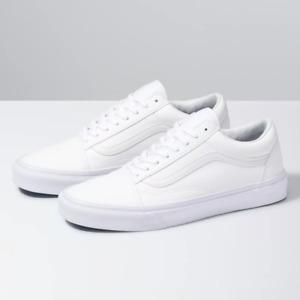 Vans Old Skool Triple White Low Leather  Skate Shoes- Men's Women's unisex