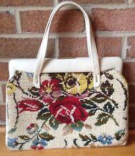 Vintage 'JANA' Carpet Bag Purse Tapestry Handbag Large Colorful Roses Dual Strap