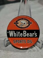 "VINTAGE ORIGINAL WHITE BEAR'S SPORTS OIL TIN LITHO LEATHER BASEBALL GLOVE OIL 2"""