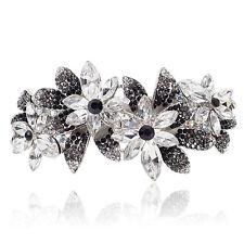 B39 Clear Crystal Black Rhinestone Flower Barrette Hair Clip Party Gift