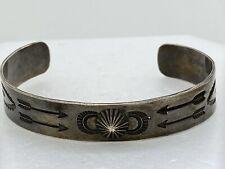 Navajo Fred Harvey Era Sterling Silver Stamped Cuff Bracelet Arrow Vintage 14.2g