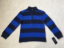 NWT $55 Ralph Lauren Boy's Navy & Royal Striped French Rib Pullover Sweater Sz 6