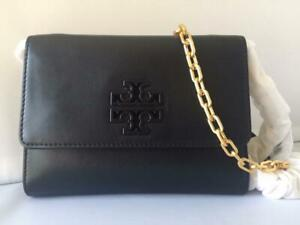 NWT $285 Tory Burch Lily Flat Chain Smooth Black Leather Wallet Clutch CrossBody
