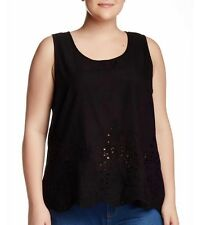 NEW Halo - Scallop Hem Eyelet tank women top Plus Size 3X