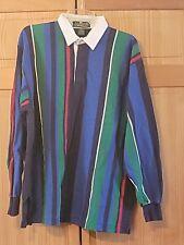 Vintage 90s Slammer Munsingwear Red Navy Striped Rugby Long Sleeve Polo Shirt XL