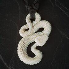 Schlange Anhänger aus Knochen Kettenanhänger Talisman Amulett Natur Schmuck