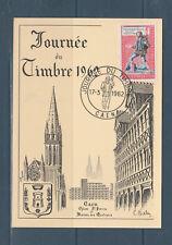 carte  1er jour  journée du timbre  14  Caen     1962