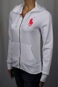 Ralph Lauren White Full Zip Hoodie Sweatshirt Big Pony NWT