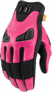 Icon Motosports Women's AUTOMAG 2 Leather Touchscreen Gloves (Pink) 2X-Large