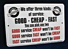THREE KINDS of SERVICE - *US MADE* Embossed Metal Tin Sign - Man Cave Garage Bar