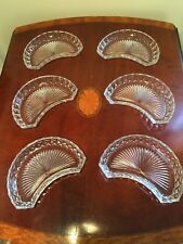 Lot of 6 Signed VAL ST LAMBERT Nicole Pattern Crescent-Shaped Glass Bowls Plates