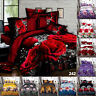 3D Duvet Quilt Cover Bed Set W Fitted Sheet & Pillowcase Single Double King Size