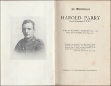 In Memoriam Harold Parry 2nd Alpha Kings Royal Rifle Corps getötet Flandern 1917