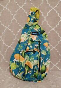 KAVU Original Rope Sling Bag Polyester Crossbody Backpack - Ocean Citrus - NEW