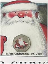 More details for 2018 gibraltar coloured father christmas 50p coin & card - fifty pence *rare*