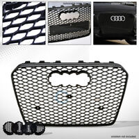 Fit 13-16 Audi A5/S5 B8.5 Glossy Blk RS Honeycomb Mesh Front Bumper Grill Grille