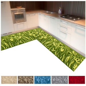 Carpet Kitchen 3D Rimmed Angular Runner Length Tailored Non-Slip