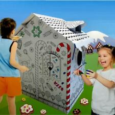 Colour Your Own Gingerbread House Childrens Playhouse Kids Cardboard Wendy Tent