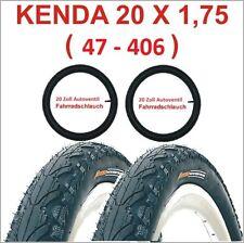Kenda Fahrradreifen 2 X 20 Zoll Reifen 20x1.75 47-406 inkl. 2 x Schlauch mit AV.