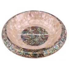 """12"""" Marble Inlaid Bowl Pauashell Mother of Pearl Stone Housewarming Decor M308"""
