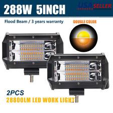 "2pcs  5"" 288W Flood LED Car Off Road Work Light Bar Fog Driving DRL Lamp 12V 24V"