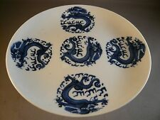 ANTIQUE CHINESE CHING BLUE WHITE FOOTED STEM BOWL  DRAGON  PORCELAIN CERTIFICATE