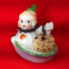 Antique Porcelain Novelty Pin Cushion Child Clown Suit Basket Made in Japan