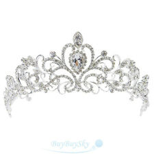 Bridal Princess Austrian Crystal Tiara Wedding Crown Veil Hair Accessory New