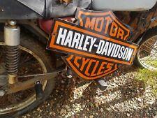 """22"""" by 16"""" Harley Davidson Old Convex  Steel porcelain vintage  advertising sign"""