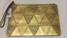 Michael Kors Adele Gold Leather Extra Large Zip Clutch/ Wristlet- NWT $198