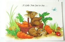 Vintage Greeting Card Bunnies Pulling Carrots from Garden Ladybug Butterfly