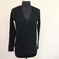 ZARA KNIT Black Long Sleeve Solid Cashmere V Neckline Sweater Sz S GG9032