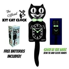 """GLOW IN THE DARK KIT CAT CLOCK 15.5"""" Classic Black Free Battery Made in the USA"""